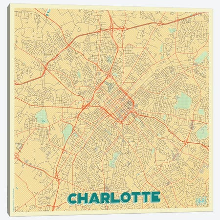 Charlotte Retro Urban Blueprint Map Canvas Print #HUR84} by Hubert Roguski Canvas Wall Art