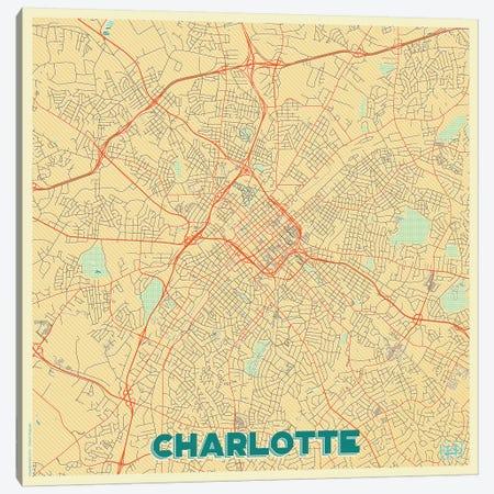 Charlotte Retro Urban Blueprint Map Canvas Print #HUR84} by Hubert Roguski Canvas Wall Art