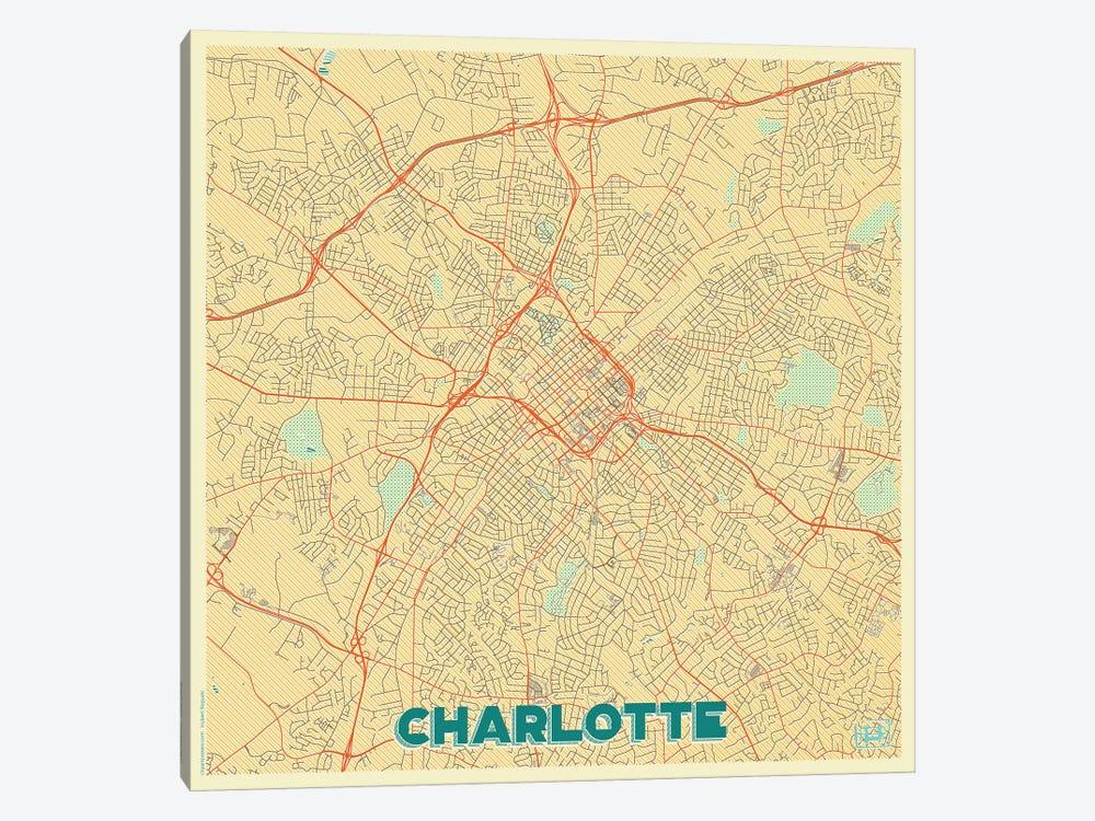 Charlotte Retro Urban Blueprint Map by Hubert Roguski 1-piece Canvas Wall Art