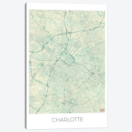 Charlotte Vintage Blue Watercolor Urban Blueprint Map Canvas Print #HUR85} by Hubert Roguski Canvas Artwork