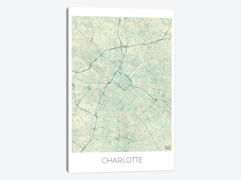 Charlotte Vintage Blue Watercolor Urban Blueprint Map by Hubert Roguski 1-piece Art Print