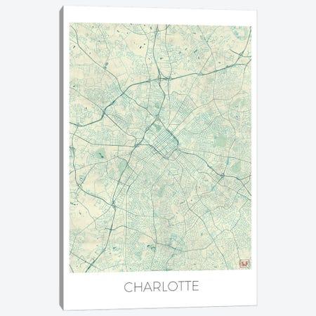 Charlotte Vintage Blue Watercolor Urban Blueprint Map Canvas Print #HUR85} by Hubert Roguski Canvas Artwork
