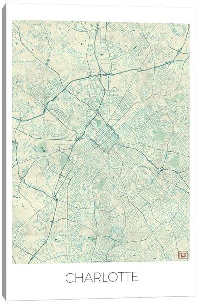 Charlotte Vintage Blue Watercolor Urban Blueprint Map Canvas Art Print
