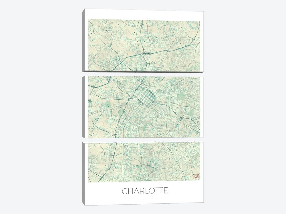 Charlotte Vintage Blue Watercolor Urban Blueprint Map by Hubert Roguski 3-piece Canvas Print