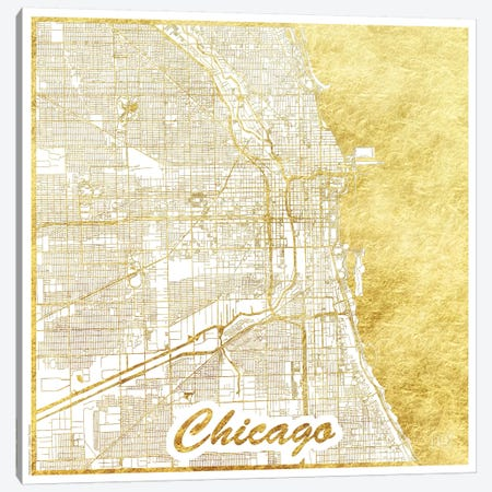 Chicago Gold Leaf Urban Blueprint Map Canvas Print #HUR86} by Hubert Roguski Canvas Art