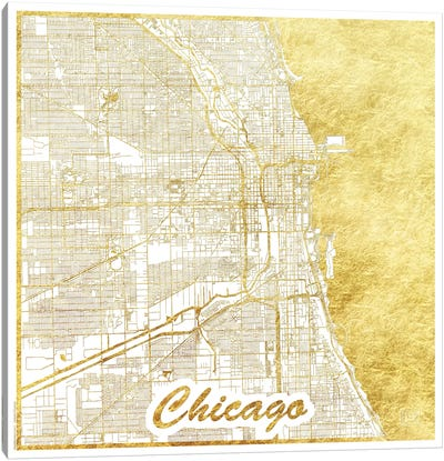 Chicago Gold Leaf Urban Blueprint Map Canvas Art Print