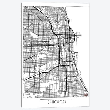 Chicago Minimal Urban Blueprint Map Canvas Print #HUR87} by Hubert Roguski Canvas Art