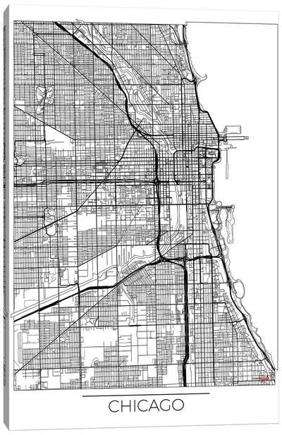 Chicago Minimal Urban Blueprint Map Canvas Art Print