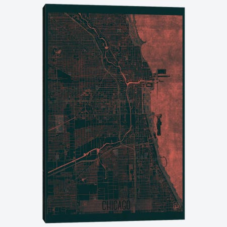 Chicago Infrared Urban Blueprint Map Canvas Print #HUR88} by Hubert Roguski Canvas Print