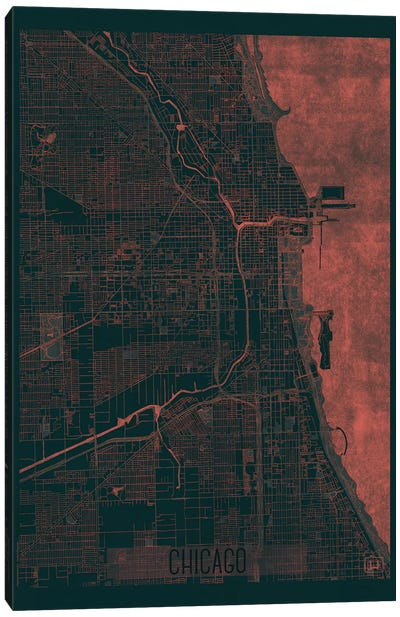 Chicago Infrared Urban Blueprint Map Canvas Art Print