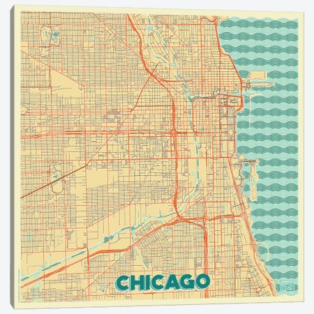 Chicago Retro Urban Blueprint Map Canvas Print #HUR89} by Hubert Roguski Canvas Art Print