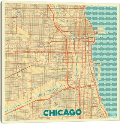 Chicago Retro Urban Blueprint Map Canvas Art Print