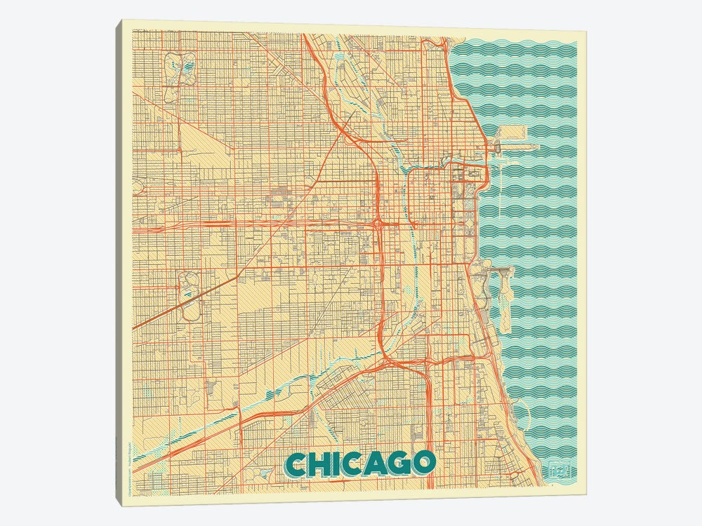 Chicago Retro Urban Blueprint Map by Hubert Roguski 1-piece Canvas Print