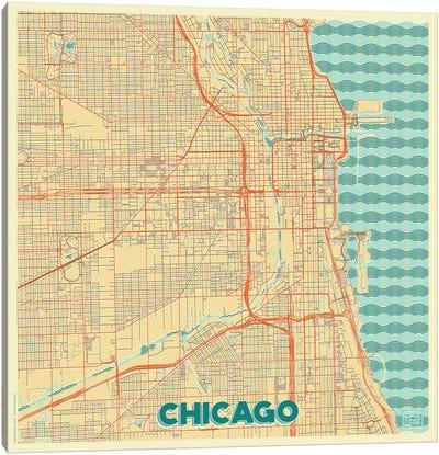 Chicago Retro Urban Blueprint Map Canvas Art Print