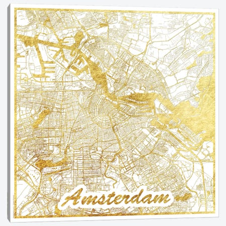 Amsterdam Gold Leaf Urban Blueprint Map Canvas Print #HUR8} by Hubert Roguski Canvas Art