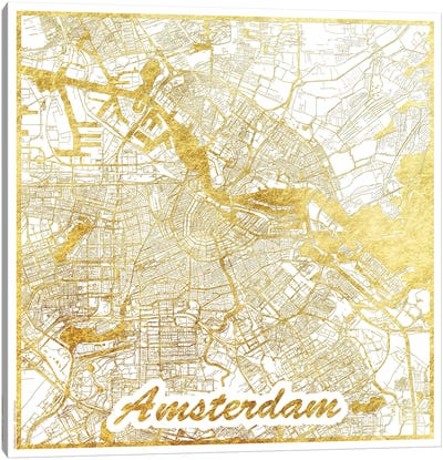 Amsterdam Gold Leaf Urban Blueprint Map Canvas Art Print