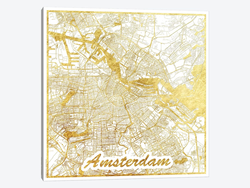Amsterdam Gold Leaf Urban Blueprint Map by Hubert Roguski 1-piece Art Print