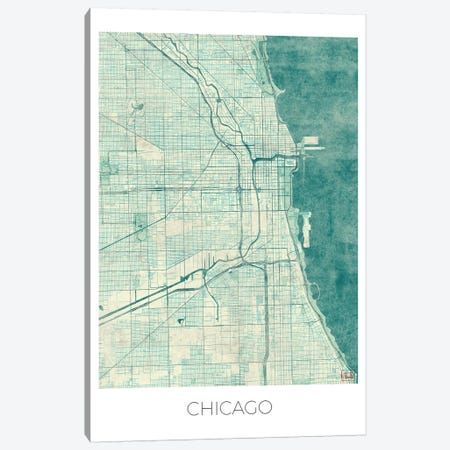 Chicago Vintage Blue Watercolor Urban Blueprint Map Canvas Print #HUR90} by Hubert Roguski Canvas Art