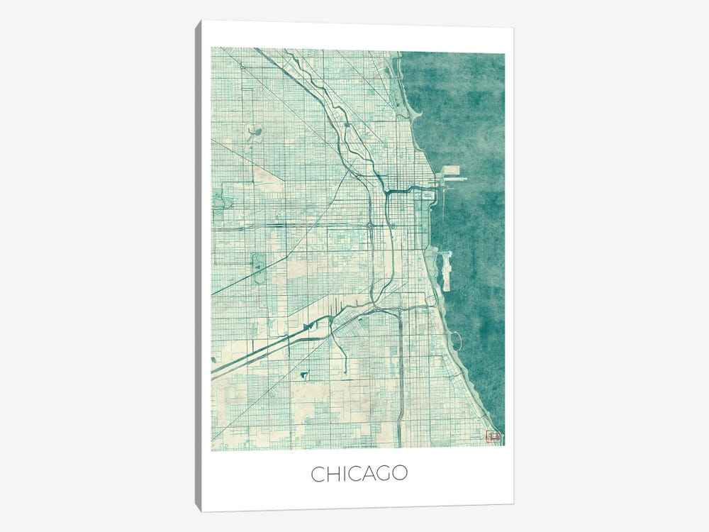 Chicago Vintage Blue Watercolor Urban Blueprint Map by Hubert Roguski 1-piece Art Print