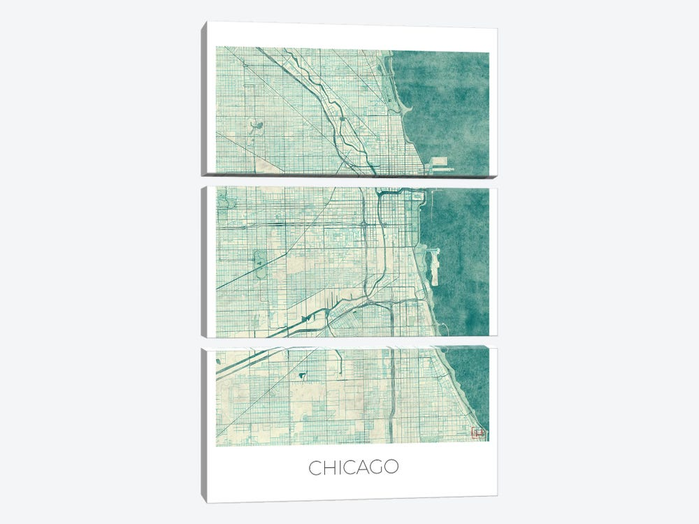 Chicago Vintage Blue Watercolor Urban Blueprint Map by Hubert Roguski 3-piece Canvas Art Print