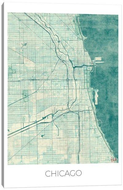 Chicago Vintage Blue Watercolor Urban Blueprint Map Canvas Art Print