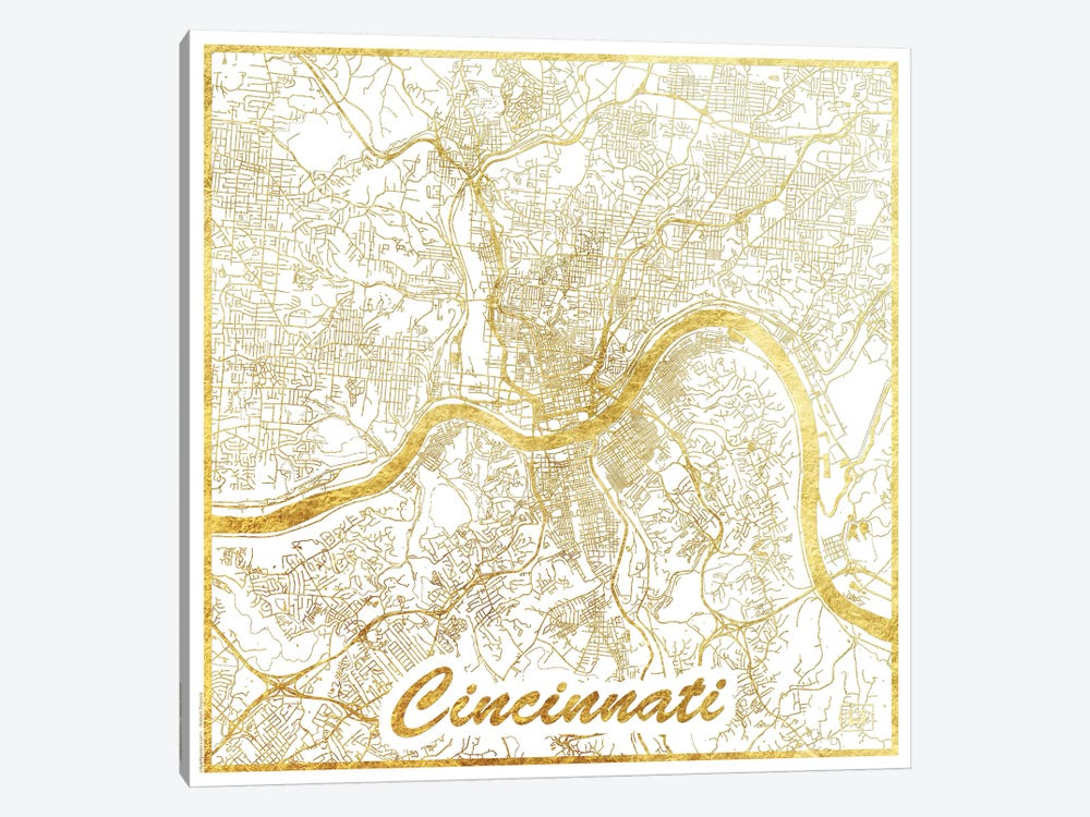 Cincinnati Gold Leaf Urban Blueprint Map by Hubert Roguski 1-piece Canvas Wall Art