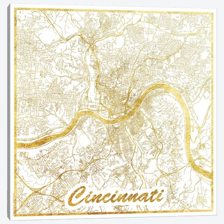 Cincinnati Gold Leaf Urban Blueprint Map 3-Piece Canvas #HUR91} by Hubert Roguski Canvas Artwork