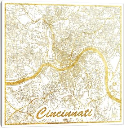 Cincinnati Gold Leaf Urban Blueprint Map Canvas Art Print