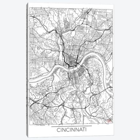 Cincinnati Minimal Urban Blueprint Map Canvas Print #HUR92} by Hubert Roguski Canvas Artwork