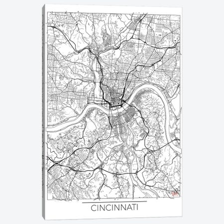 Cincinnati Minimal Urban Blueprint Map 3-Piece Canvas #HUR92} by Hubert Roguski Canvas Artwork
