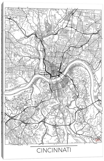 Cincinnati Minimal Urban Blueprint Map Canvas Art Print