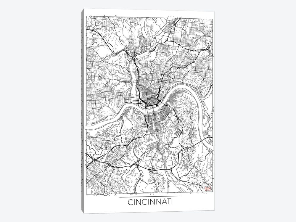 Cincinnati Minimal Urban Blueprint Map by Hubert Roguski 1-piece Art Print