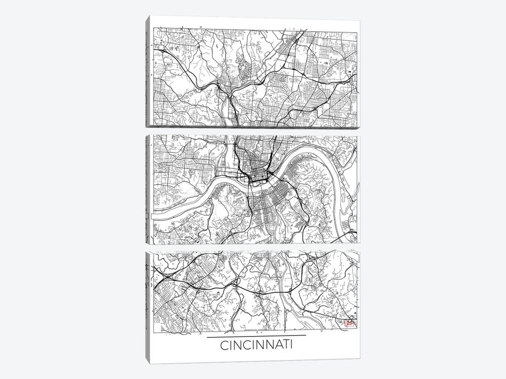 Cincinnati Minimal Urban Blueprint Map by Hubert Roguski 3-piece Canvas Print