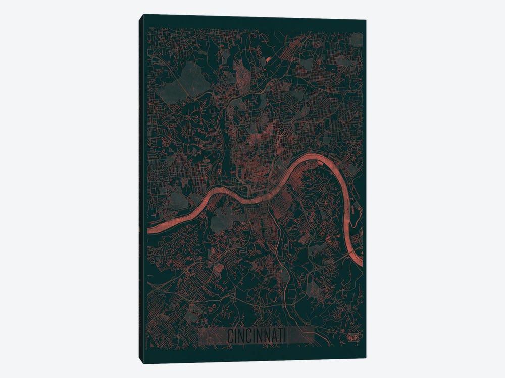 Cincinnati Infrared Urban Blueprint Map by Hubert Roguski 1-piece Canvas Artwork