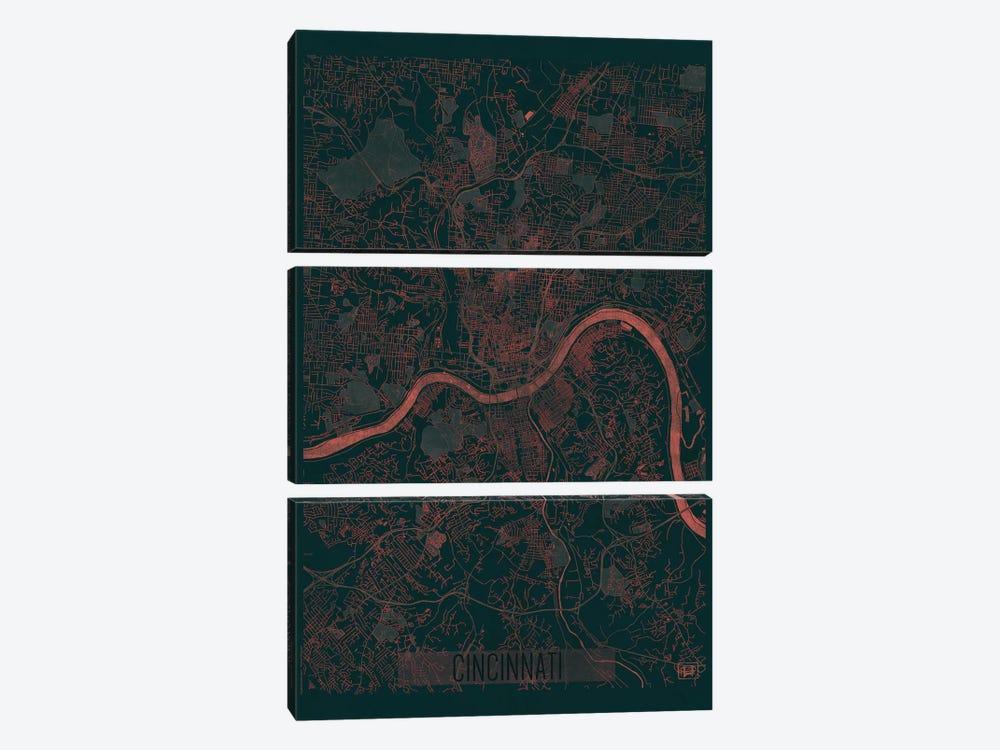 Cincinnati Infrared Urban Blueprint Map by Hubert Roguski 3-piece Canvas Wall Art