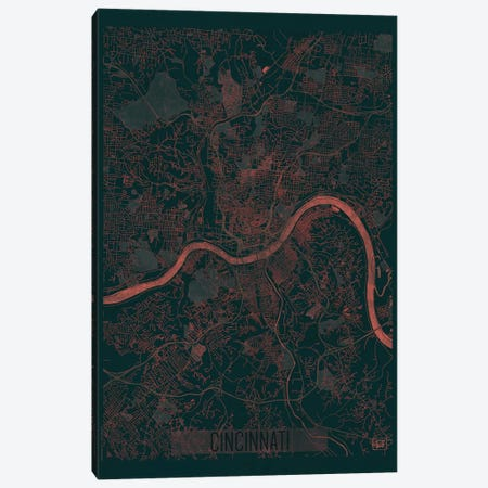 Cincinnati Infrared Urban Blueprint Map Canvas Print #HUR93} by Hubert Roguski Canvas Art