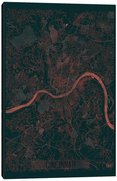 Cincinnati Infrared Urban Blueprint Map Canvas Art Print