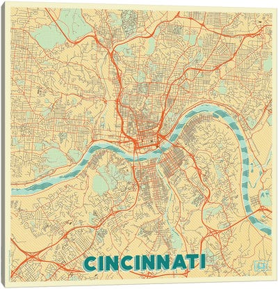 Cincinnati Retro Urban Blueprint Map Canvas Art Print
