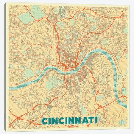 Cincinnati Retro Urban Blueprint Map Canvas Print #HUR94} by Hubert Roguski Canvas Print