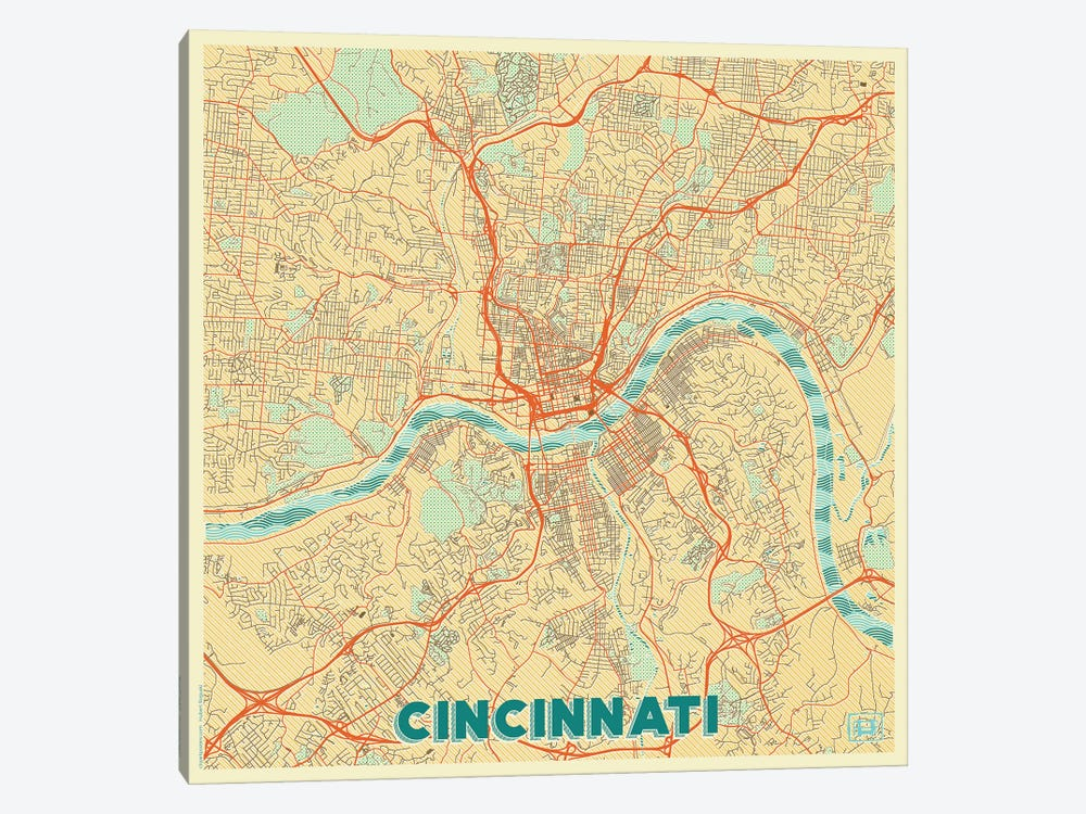 Cincinnati Retro Urban Blueprint Map by Hubert Roguski 1-piece Canvas Print