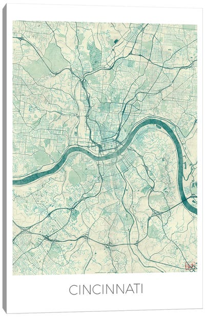 Cincinnati Vintage Blue Watercolor Urban Blueprint Map Canvas Art Print