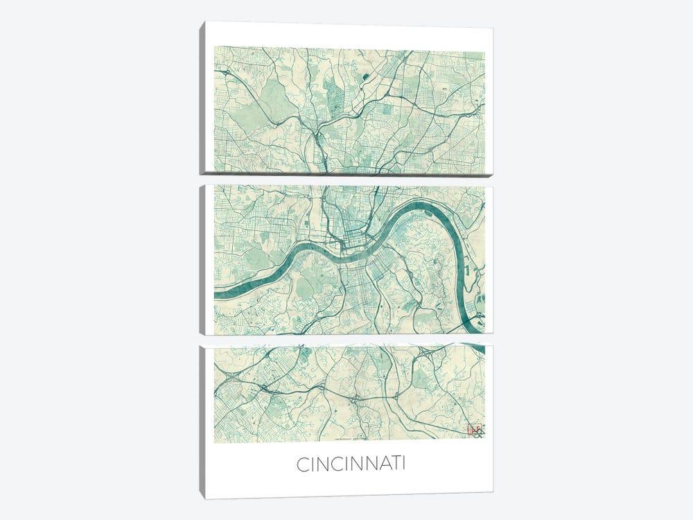 Cincinnati Vintage Blue Watercolor Urban Blueprint Map by Hubert Roguski 3-piece Canvas Artwork