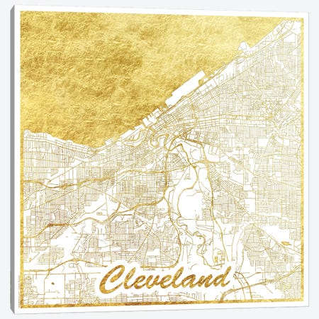 Cleveland Gold Leaf Urban Blueprint Map Canvas Print #HUR96} by Hubert Roguski Art Print