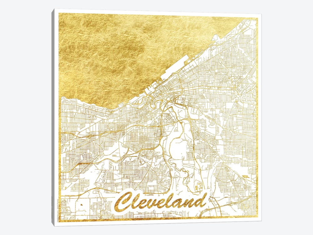 Cleveland Gold Leaf Urban Blueprint Map by Hubert Roguski 1-piece Art Print