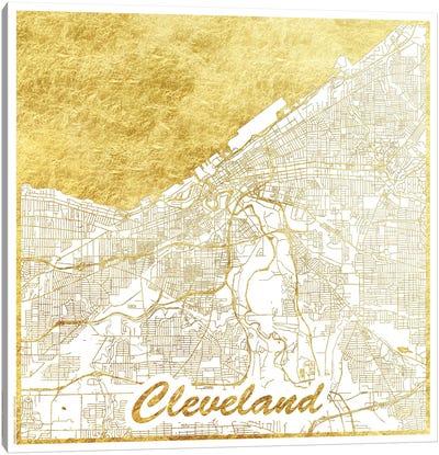 Cleveland Gold Leaf Urban Blueprint Map Canvas Art Print