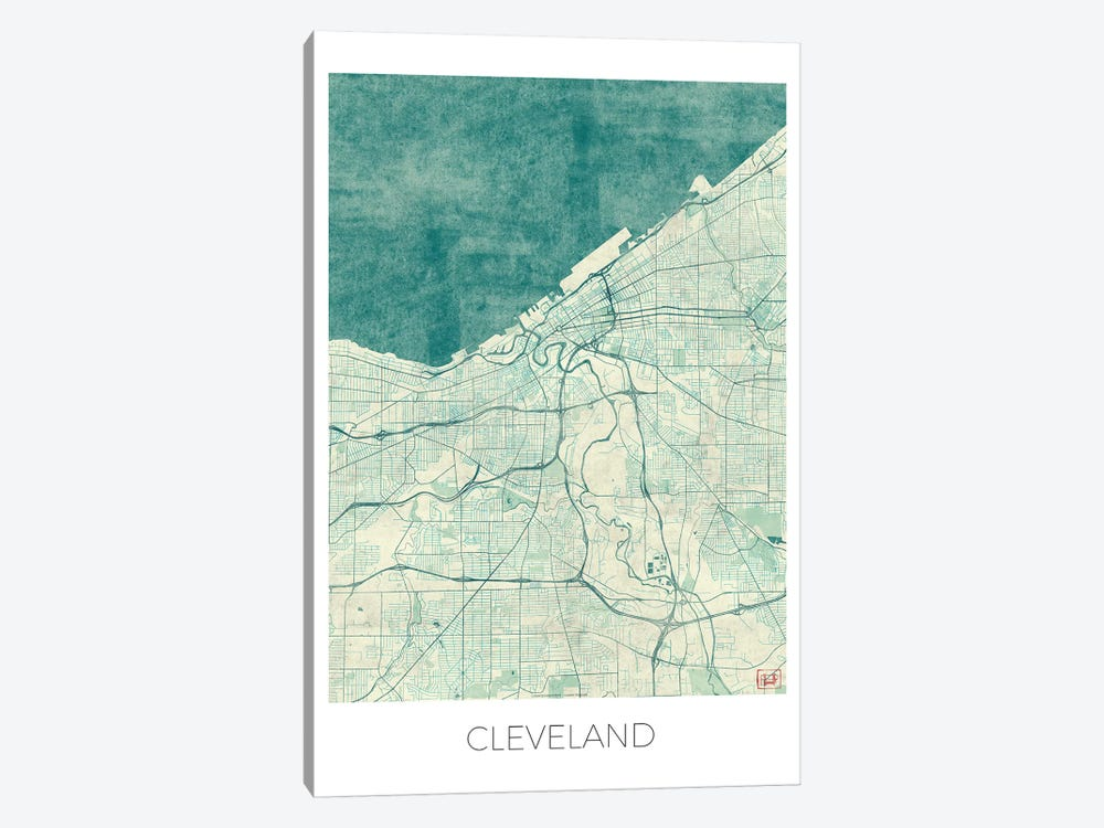 Cleveland Vintage Blue Watercolor Urban Blueprint Map by Hubert Roguski 1-piece Canvas Wall Art