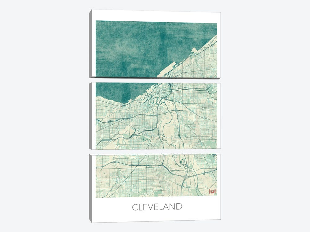 Cleveland Vintage Blue Watercolor Urban Blueprint Map by Hubert Roguski 3-piece Canvas Artwork