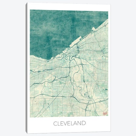 Cleveland Vintage Blue Watercolor Urban Blueprint Map Canvas Print #HUR97} by Hubert Roguski Art Print