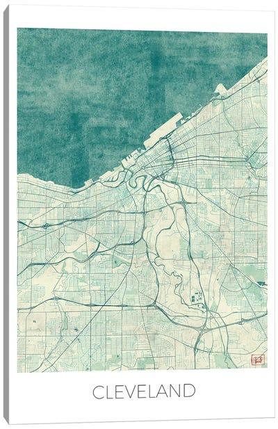 Cleveland Vintage Blue Watercolor Urban Blueprint Map Canvas Art Print