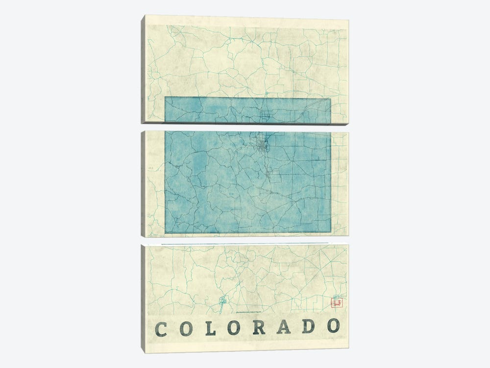 Colorado Map by Hubert Roguski 3-piece Art Print